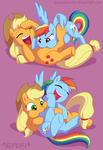 applejack chaoskomori laughing rainbow_dash raspberry