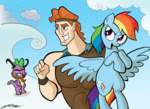 crossover disney hercules rainbow_dash spike willdrawforfood1