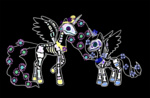 crossover day_of_the_dead princess_celestia princess_luna violetmagician white_on_black