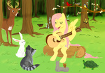 bird butterfly cartoonlion deer fluttershy guitar i_shall_not_use_my_hooves_as_hands rabbit raccoon singing squirrel turtle