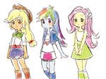 applejack equestria_girls fluttershy humanized merryyy87 rainbow_dash