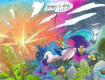 birthday flowers leavingcrow princess_celestia princess_luna traditional_art
