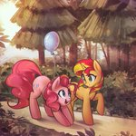 absurdres balloon highres mirroredsea pinkie_pie sunset_shimmer trees