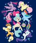 applejack fish fluttershy main_six pinkie_pie princess_skystar princess_twilight rainbow_dash rarity seaponies spike twilight_sparkle xkappax