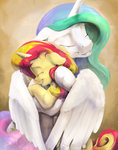 hugs princess_celestia silfoe sunset_shimmer