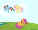 fluttershy highres parallax rainbow_dash scootaloo sleeping