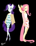 anthro coat dress fluttershy highres rarity taarie