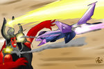 explosion highres jet pak-faace1234 princess_twilight tirek twilight_sparkle