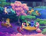 background_ponies bench bowl caramel flowers food fork fountain glass glasses highres lemon_hearts lyra_heartstrings magic minuette moondancer pond scenery spoon sweetie_drops table time_turner tree twinkleshine viwrastupr