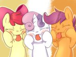 aosion apple_bloom cutie_mark_crusaders highres scootaloo sweetie_belle tongue