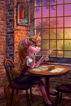 anthro chair coffee cup highres holivi original_character table window