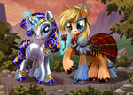 applejack clothes flowers harwick highres magic rarity rose_(flower)