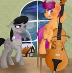 bow_tie cello chair highres instrument octavia_melody scootaloo x-breeze-runner-x