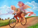 absurdres anthro applejack appleshy audrarius bicycle flutterjack fluttershy highres scenery shipping