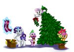 apple_bloom christmas_tree cutie_mark_crusaders mistletoe pia-sama rarity scootaloo spike sweetie_belle tree