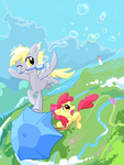 apple_bloom bubble derpy_hooves lighthouse palestorm umbrella