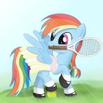 absurdres ball dress highres rainbow_dash regolithx tennis