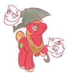 animated ask askbigmcintosh big_macintosh pun txlegionnaire umbrella