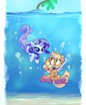 applejack diving highres merponies rarijack-daily rarity snorkel swimming underwater whitediamonds