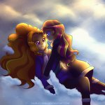 adagio_dazzle equestria_girls highres humanized jack-a-lynn scarf shipping snow sunset_shimmer