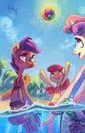 absurdres anthro apple_bloom ball beach cutie_mark_crusaders fish highres holivi scootaloo sea sweetie_belle trees