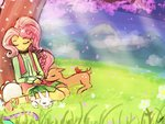angel deer equestria_girls fluttershy humanized lumineko sleeping tambourine