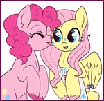 apron border flutterpie fluttershy licking lowres lulubellct pinkie_pie shipping