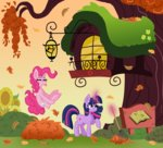 autumn highres leaves magic pink-pone pinkie_pie twilight_sparkle