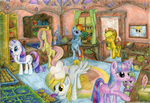 applejack apples cooking derpy_hooves dinky_hooves filly fluttershy hat highres holyandrew main_six muffin pinkie_pie rainbow_dash rarity spike twilight_sparkle