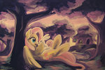 angel fluttershy fluttershy's_cottage highres traditional_art tree trees viv-chibi-love