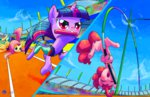 fluttershy halem1991 highres olympics pinkie_pie pole_vault race relay_race twilight_sparkle