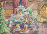 book christmas christmas_tree fireplace magic original_character princess_celestia scarf socks the-wizard-of-art