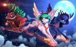 deer flying highres moon nighttime princess_celestia princess_luna sleigh species_swap yakovlev-vad