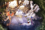 bird butterfly mountain philomena ponypunk princess_celestia scenery waterfall wet_hair ziom05