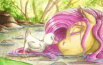 duck earthsong9405 fluttershy pond sleeping