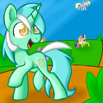 background_ponies bench berry_punch derpy_hooves golden_harvest kiruki1999 lyra_heartstrings sweetie_drops
