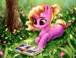 absurdres applejack book flowers fluttershy highres luster_dawn main_six nightmare_moon pinkie_pie rainbow_dash rarity rysunkowasucharia tree twilight_sparkle
