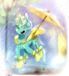 boots carligercarl highres lyra_heartstrings magic rain umbrella