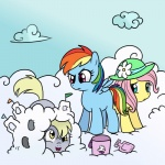 bucket cloudsdale cutie_mark derpy_hooves filly fluttershy hat madmax rainbow_dash shovel