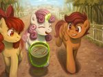 apple_bloom bucket cutie_mark_crusaders fish highres kaerukwa magic scootaloo sweetie_belle water
