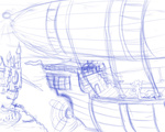 canterlot dirigible pinkie_pie scenery sketch thorheim