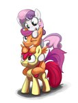 apple_bloom cutie_mark_crusaders jayzonsketch pony_ride_the_pony ponypile riding scootaloo sweetie_belle