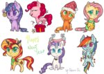 0okami-0ni absurdres applejack fluttershy hat highres huge_filesize magic main_six pinkie_pie present princess_twilight rainbow_dash rarity scarf sunset_shimmer traditional_art twilight_sparkle