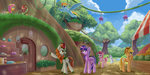 applejack autumn_blaze background_ponies emeraldgalaxy fluttershy highres kirin main_six market pinkie_pie princess_twilight rainbow_dash rarity trees twilight_sparkle