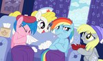 derpy_hooves firefly g1 hat rainbow_dash sick sorcerushorserus spoon surprise thermometer tissue_box