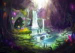 assasinmonkey cave gems helmet highres maud_pie scenery starlight_glimmer waterfall