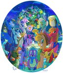 apple_bloom applejack big_macintosh christmas_tree granny_smith hat jowybean magic nighttime owlowiscious parents pie scarf shining_armor snow spike stars twilight's_dad twilight_sparkle twilight_velvet winona