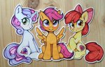 apple_bloom cutie_mark_crusaders scootaloo sweetie_belle traditional_art zoliklispp