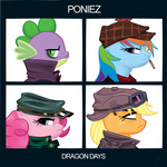 album_cover applejack demon_days gorillaz parody pinkie_pie rainbow_dash spike txlegionnaire