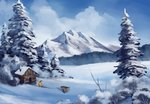 anticularpony applejack highres mountain scenery snow trees winter
